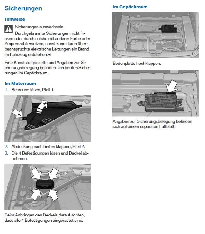 Sicherung Zigarettenanzünder, Scheibenwaschanlage hinten | BMW 1er ...